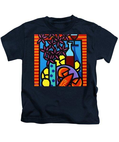 Flowers Wine Lobster And Lemons Kids T-Shirt