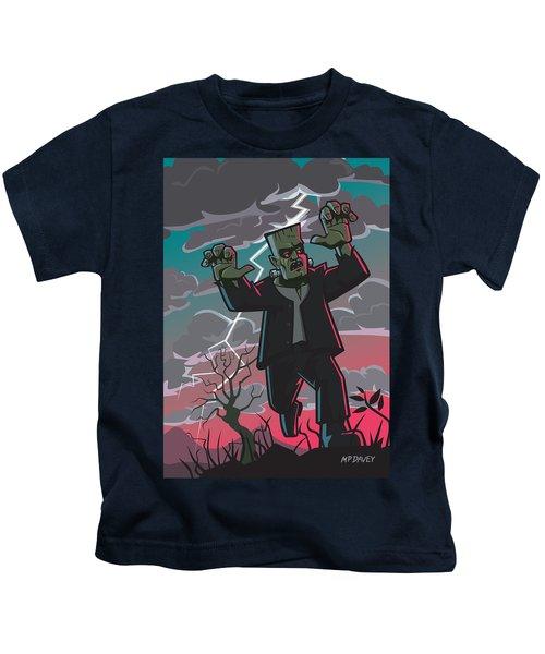 Frankenstein Creature In Storm  Kids T-Shirt