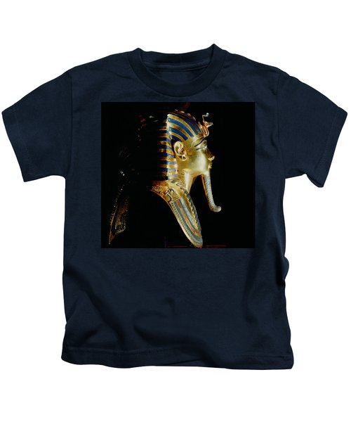 Gold Mask Of Tutankhamun, From The Tomb Of Tutankhamun, C.1370-1352 Bc New Kingdom Gold Inlaid Kids T-Shirt