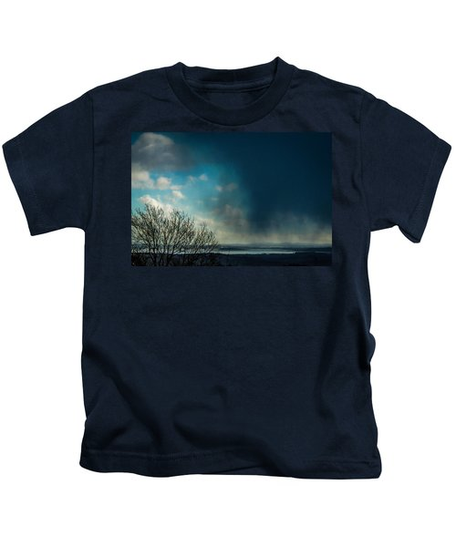 Kids T-Shirt featuring the photograph Hail Storm Obscures Ireland's Blue Sky by James Truett