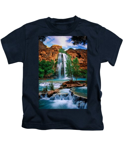 Havasu Cascades Kids T-Shirt by Inge Johnsson
