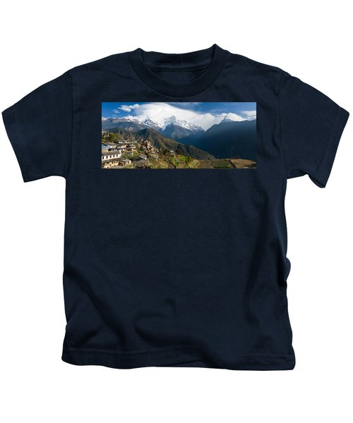 Houses In A Town On A Hill, Ghandruk Kids T-Shirt