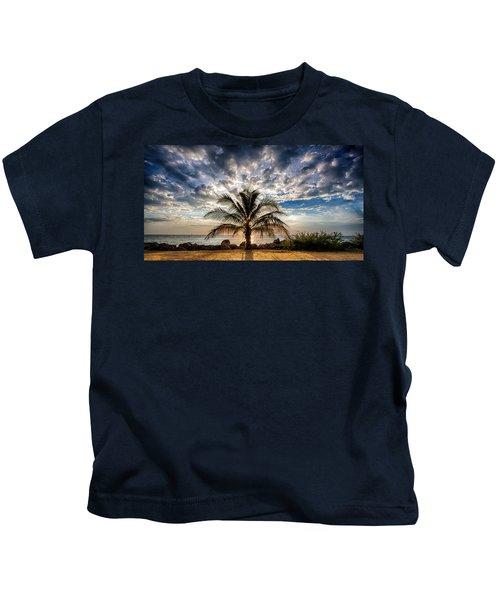 Key West Florida Lone Palm Tree  Kids T-Shirt