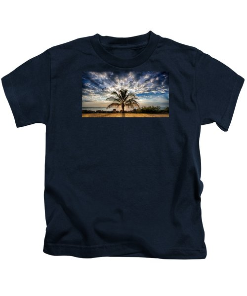 Key West Florida Lone Palm Tree  Kids T-Shirt