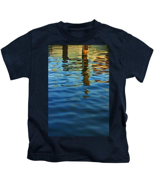 Light Reflections On The Water By A Dock At Aransas Pass Kids T-Shirt