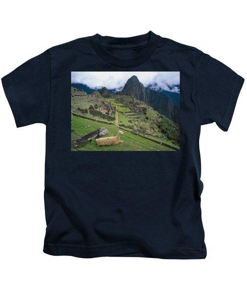 Llama At Machu Picchus Ancient Ruins Kids T-Shirt