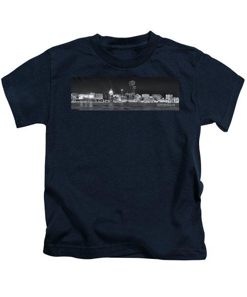 Madison - Wisconsin -  New Years Eve Panorama Black And White Kids T-Shirt