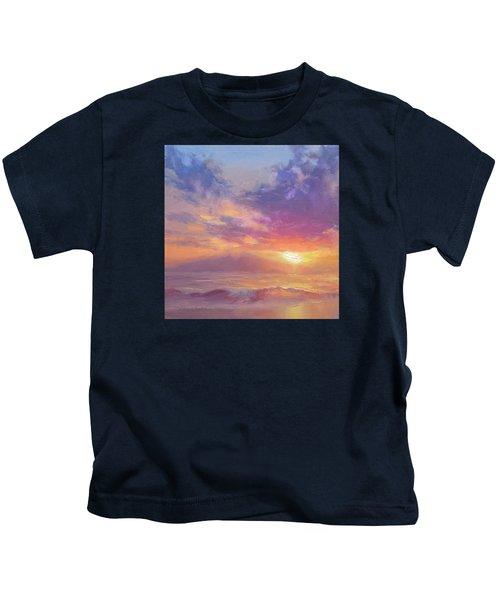 Maui To Molokai Hawaiian Sunset Beach And Ocean Impressionistic Landscape Kids T-Shirt