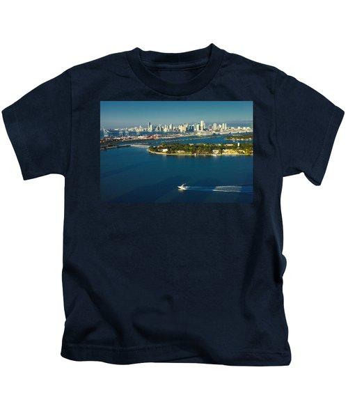 Miami City Biscayne Bay Skyline Kids T-Shirt