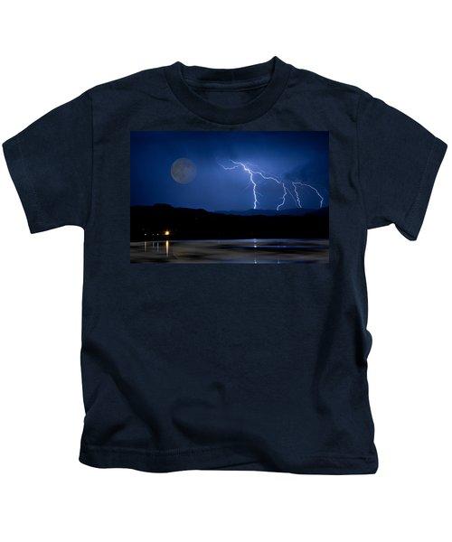 Misty Lake Full Moon Lightning Storm Fine Art Photo Kids T-Shirt