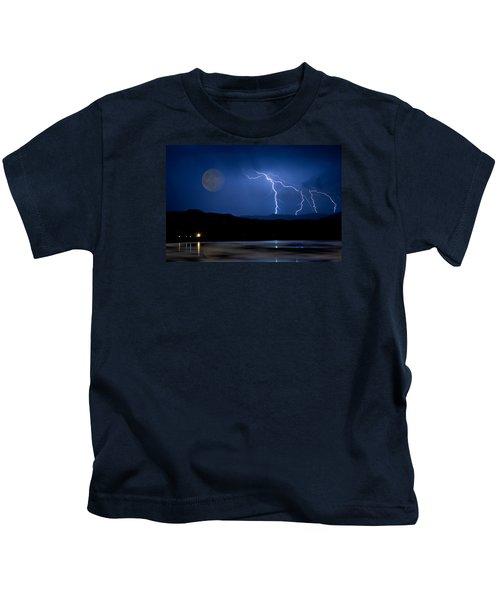 Misty Lake Full Moon Lightning Storm Fine Art Photo Kids T-Shirt