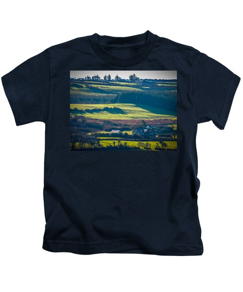 Kids T-Shirt featuring the photograph Morning Shadows Over Irish Countryside by James Truett