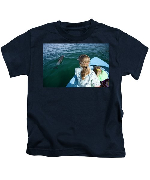 Mother And Daughter Watching A Dolphin Kids T-Shirt