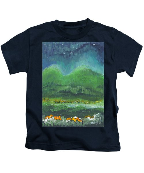 Mountains At Night Kids T-Shirt