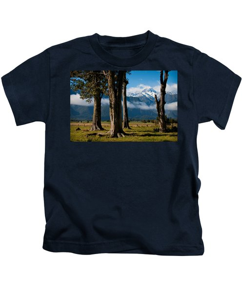 Mt Cook Through Trees Kids T-Shirt