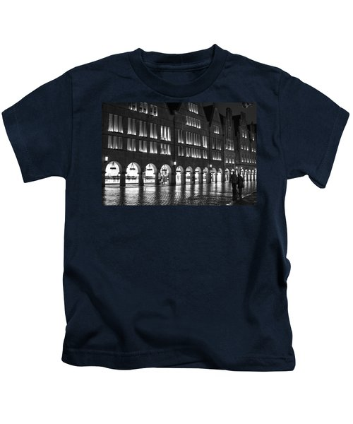 Cobblestone Night Walk In The Town Kids T-Shirt