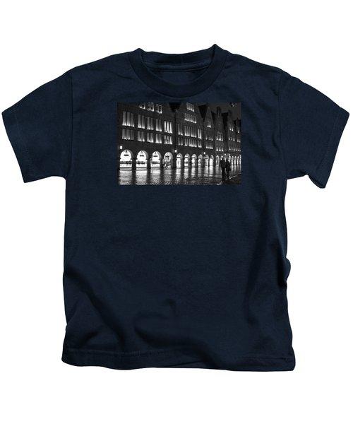 Cobblestone Night Walk In The Town Kids T-Shirt