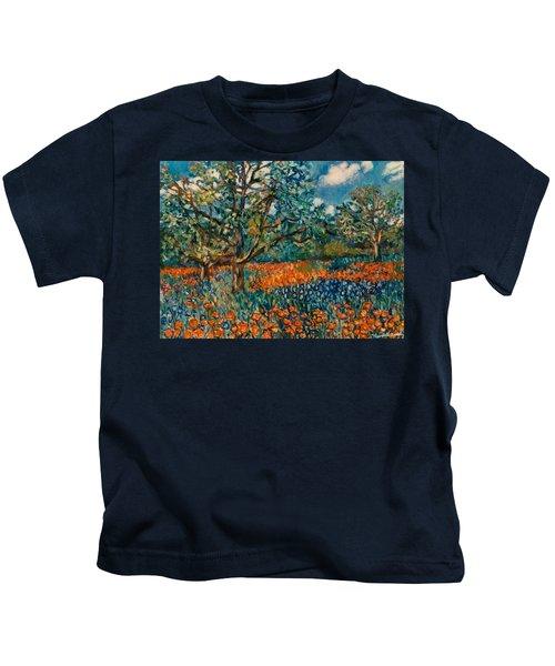 Orange And Blue Flower Field Kids T-Shirt
