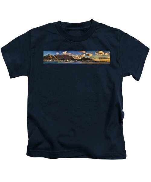 Panorama Cape Town Harbour At Sunset Kids T-Shirt