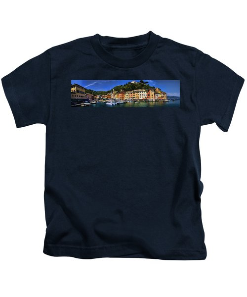 Panorama Of Portofino Harbour Italian Riviera Kids T-Shirt