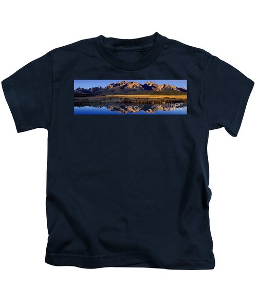 Panorama Reflections Sawtooth Mountains Nra Idaho Kids T-Shirt
