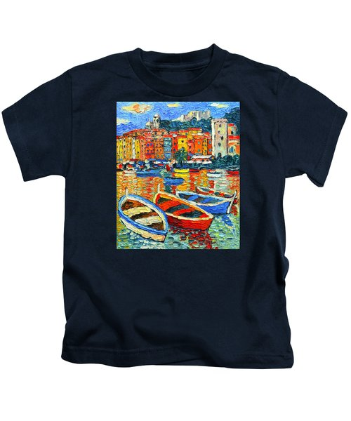 Portovenere Harbor - Italy - Ligurian Riviera - Colorful Boats And Reflections Kids T-Shirt