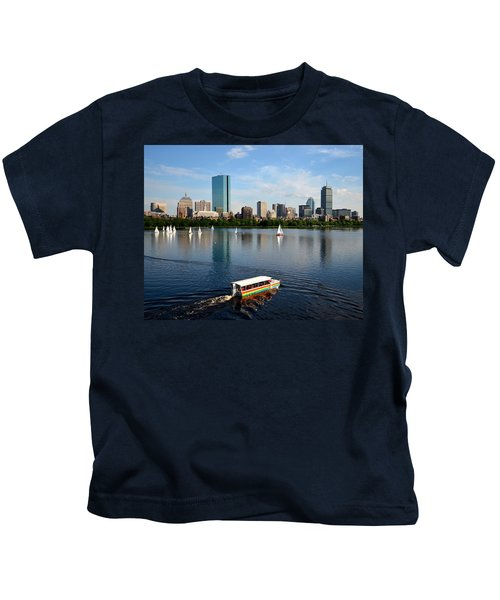 Rainbow Duck Boat On The Charles Kids T-Shirt
