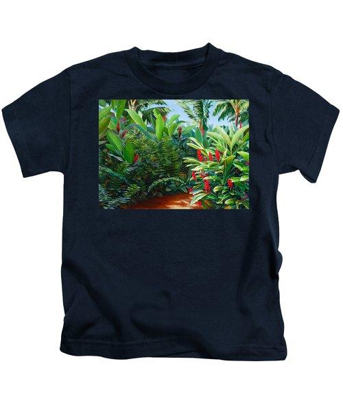 Tropical Jungle Landscape - Red Garden Hawaiian Torch Ginger Wall Art Kids T-Shirt