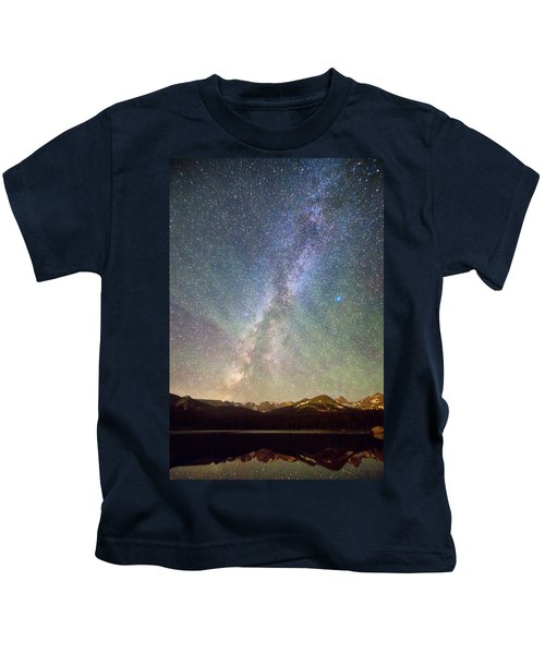 Rocky Mountains Indian Peaks Milky Way Rising Kids T-Shirt