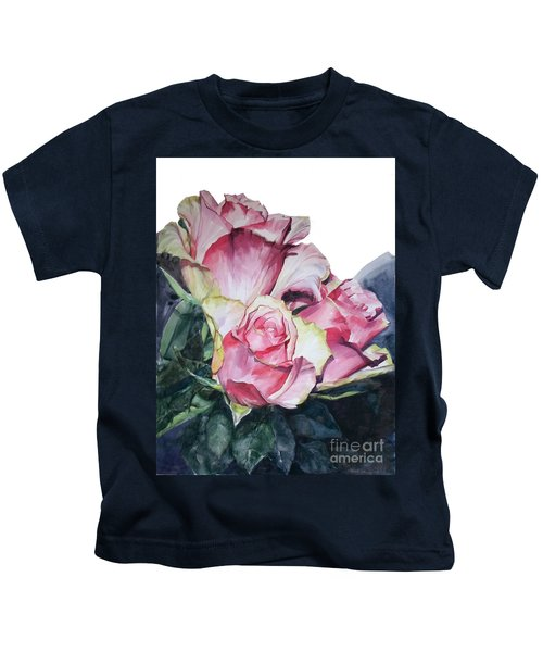 Watercolor Of A Bouquet Of Pink Roses I Call Rose Michelangelo Kids T-Shirt