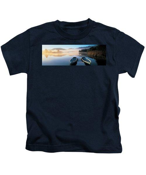 Rowboats At The Lakeside, English Lake Kids T-Shirt