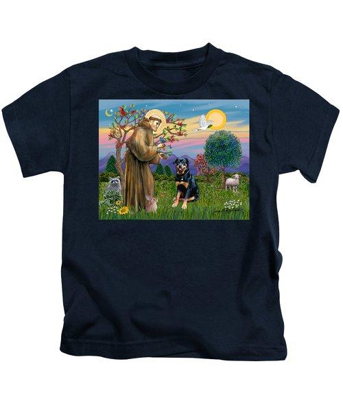Saint Francis Blesses A Rottweiler Kids T-Shirt