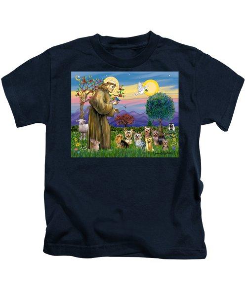 Saint Francis Blesses Seven Yorkies Kids T-Shirt