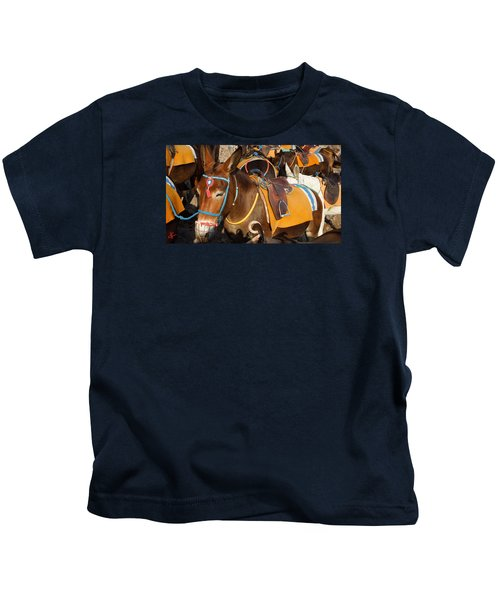 Kids T-Shirt featuring the photograph Santorini Donkeys Ready For Work by Colette V Hera  Guggenheim