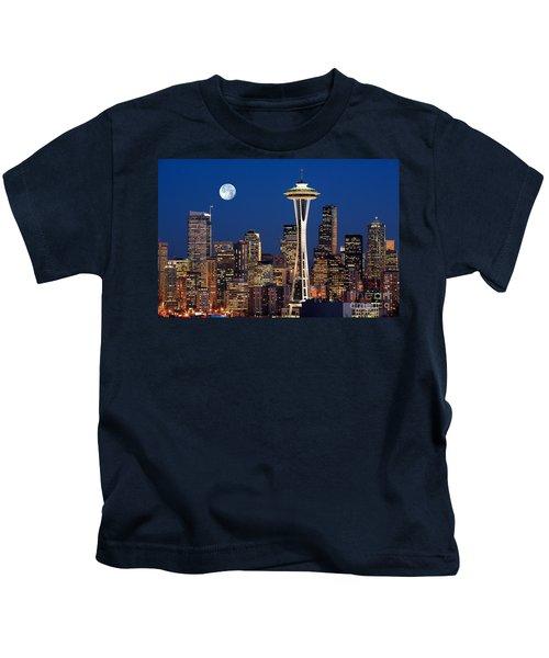 Seattle At Full Moon Kids T-Shirt