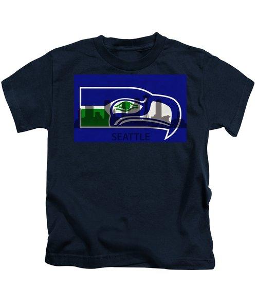 Seattle Seahawks On Seattle Skyline Kids T-Shirt