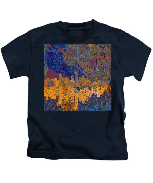 Seattle Skyline Abstract 4 Kids T-Shirt