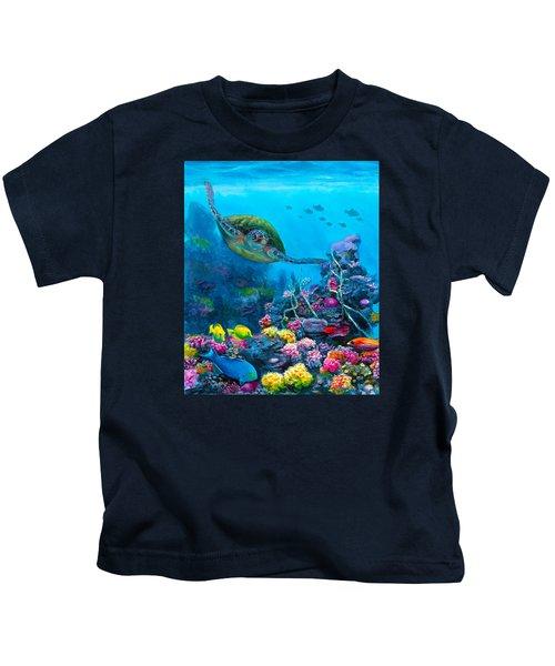 Secret Sanctuary - Hawaiian Green Sea Turtle And Reef Kids T-Shirt