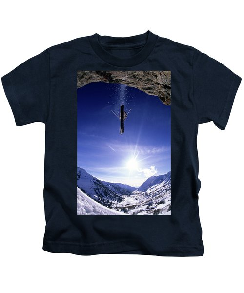 Skier Jumping Off A Cliff At Alta, Utah Kids T-Shirt