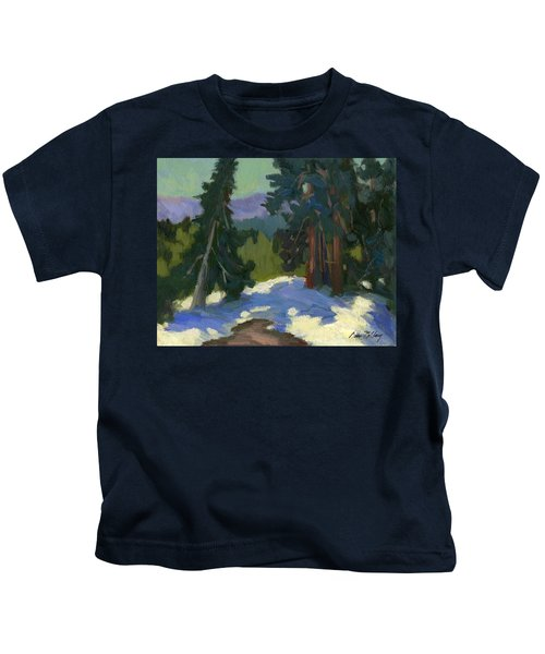 Snow Shadows Mammoth Mountain Kids T-Shirt