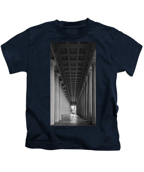 Soldier Field Colonnade Chicago B W B W Kids T-Shirt by Steve Gadomski