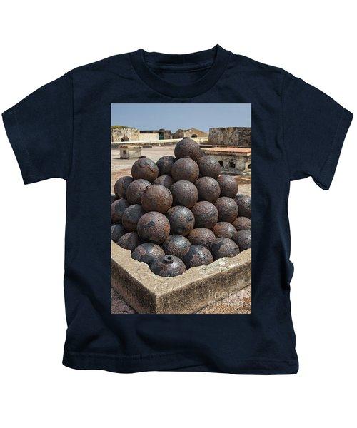 Stack Of Cannon Balls At Castillo San Felipe Del Morro Kids T-Shirt