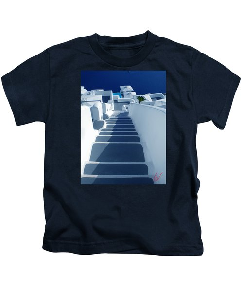 Kids T-Shirt featuring the photograph Stairs Down To Ocean Santorini by Colette V Hera  Guggenheim