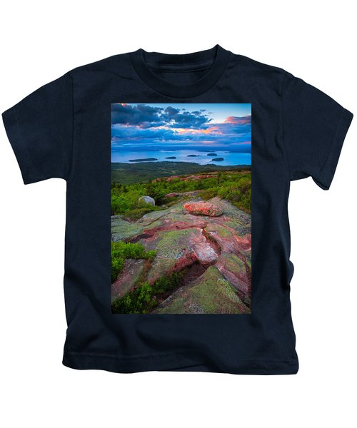 Sunset At Cadillac Mountain Kids T-Shirt
