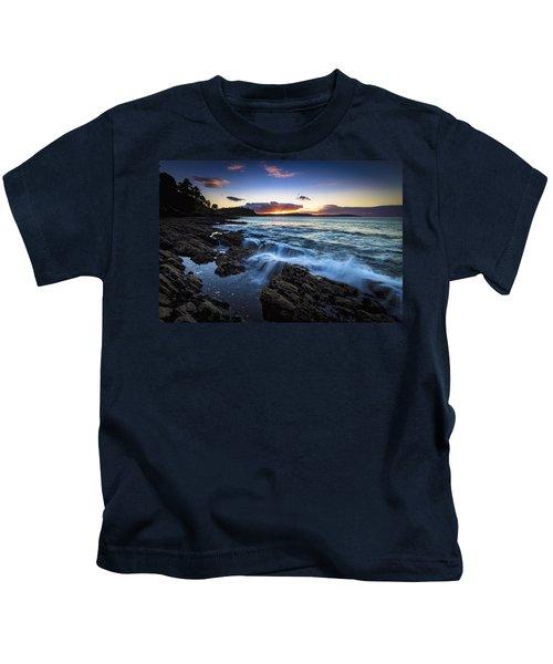 Sunset On Ber Beach Galicia Spain Kids T-Shirt