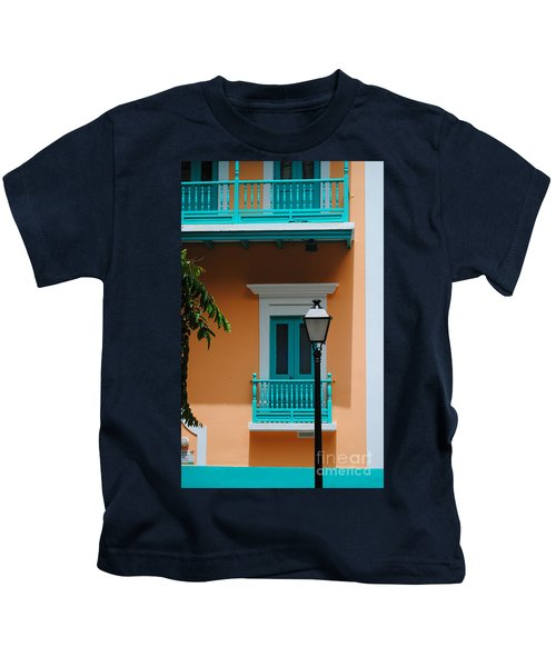 Teal With Pale Orange Kids T-Shirt