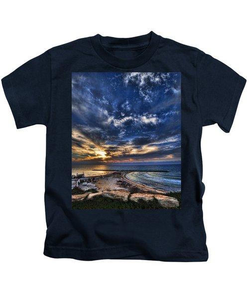 Tel Aviv Sunset At Hilton Beach Kids T-Shirt