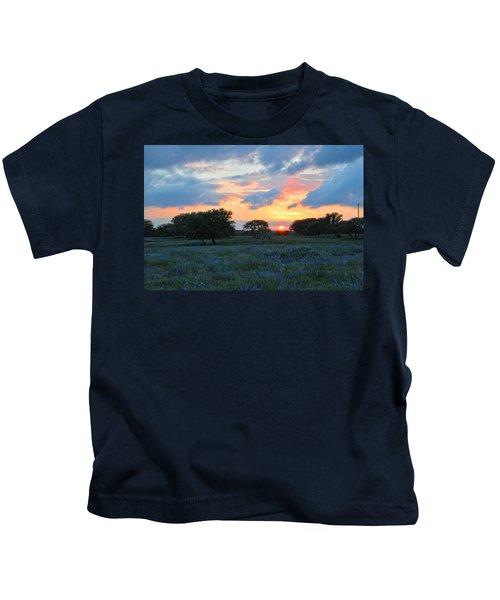 Texas Wildflower Sunset  Kids T-Shirt