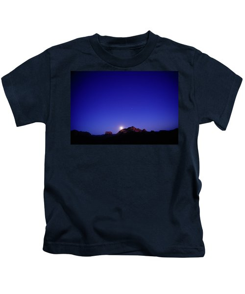 The Full Moon Rises Over Red Rock Kids T-Shirt