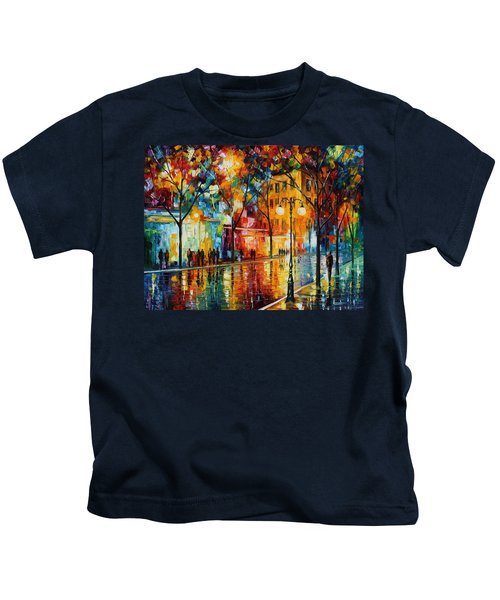 The Tears Of The Fall - Palette Knife Oil Painting On Canvas By Leonid Afremov Kids T-Shirt